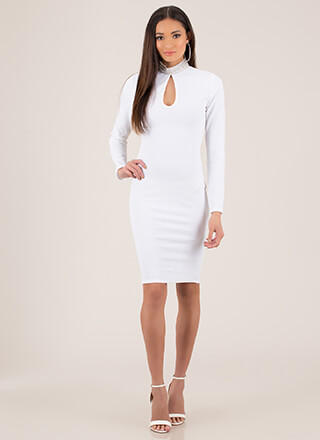True Collars Jeweled Keyhole Midi Dress
