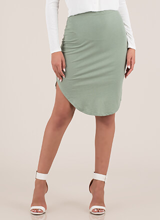 Keep Things Casual Round Hem Skirt