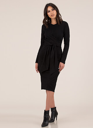 Wrapper's Delight Tied Midi Dress