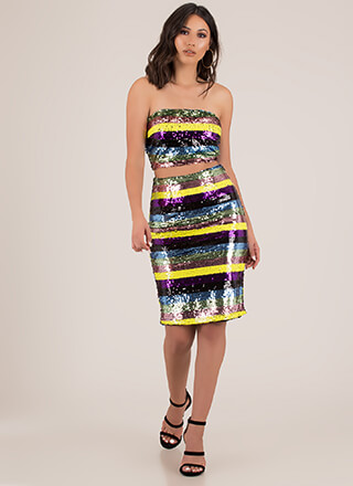 Stripes And Sequins 2-Piece Tube Dress