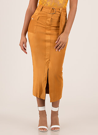 Work It Belted Faux Suede Maxi Skirt