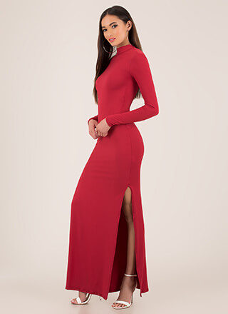 Yes We're Open-Back Tied Slit Maxi Dress