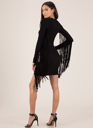 Give Me Wings Fringed Rib Knit Dress