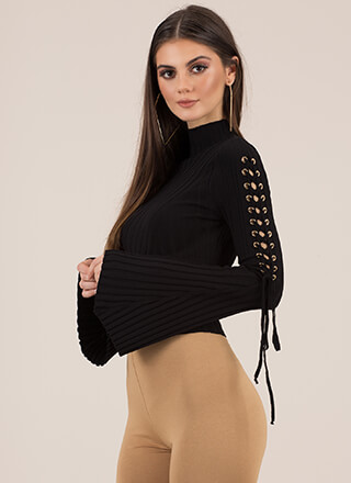 To Tie For Ribbed Bell-Sleeve Crop Top