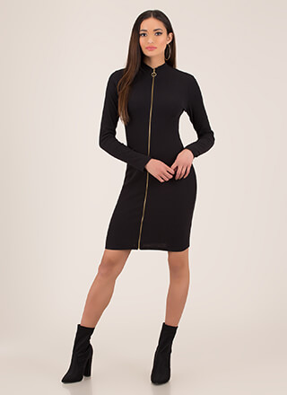 It Depends Zip-Front Midi Dress