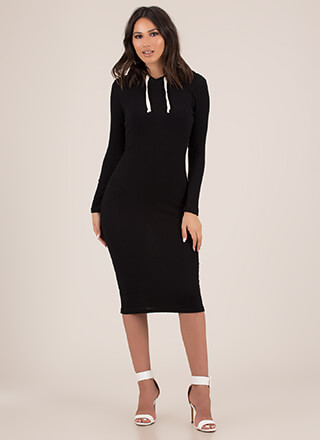 Keep It Casual Rib Knit Hoodie Dress