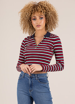 Run Lines Striped Zip-Front Crop Top