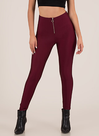 True To Form Zip-Up Nylon Leggings