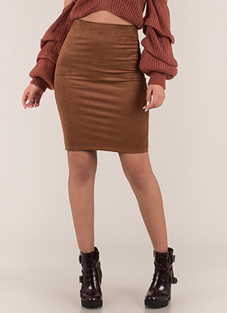 Form Or Function Faux Suede Pencil Skirt