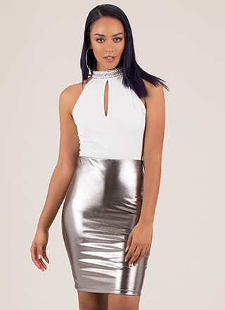 Liquid Form Metallic Pencil Skirt