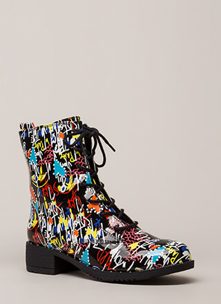 Go Fight Win Graffiti Print Combat Boots