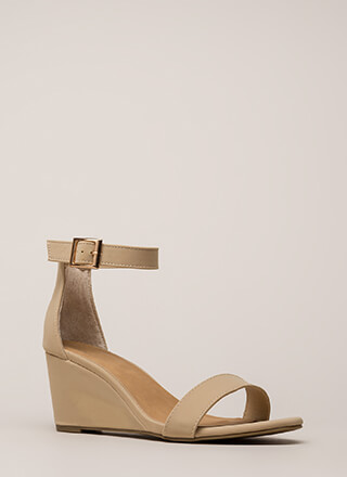 Every Day Faux Nubuck Ankle Strap Wedges