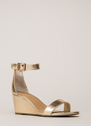 Every Day Metallic Ankle Strap Wedges