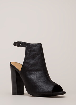 Go Ahead Chunky Backless Peep-Toe Heels