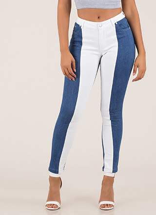 Half A Good Time Colorblock Skinny Jeans