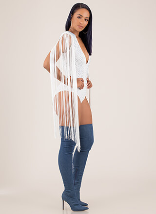 Fringe Party Plunging Jeweled Bodysuit