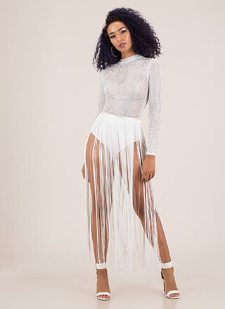 Fringe Party Jeweled Bodysuit Maxi
