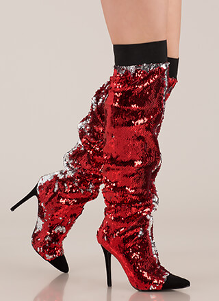 Shine Slouchy Over-The-Knee Sequin Boots
