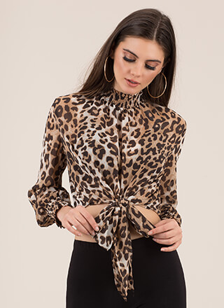 Pretty Wild Tied Leopard Crop Top