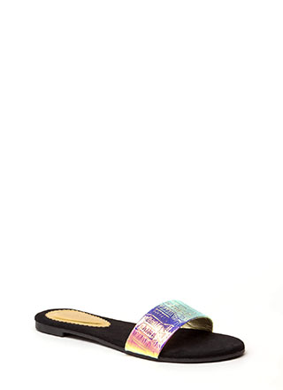 Hologram Reptile Scale Slide Sandals