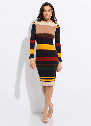 Line Dance Striped Rib Knit Midi Dress
