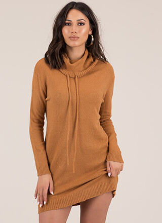 Necks Level Drawstring Sweater Dress