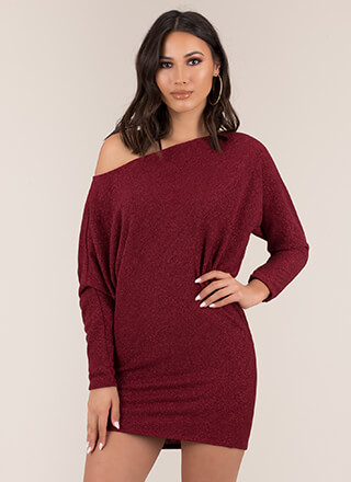 Effortless Sparkly Dolman Minidress