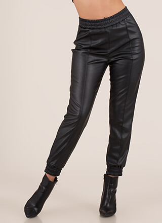 Born To Be Styled Faux Leather Joggers