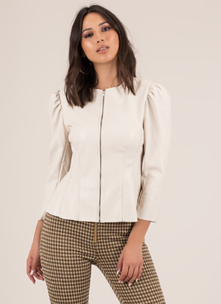 Chic Speak Faux Leather Puffy Sleeve Top