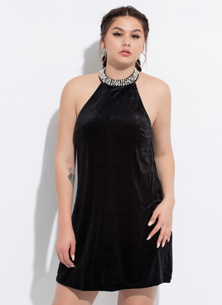 Glamour Pearl Velvet Shift Dress