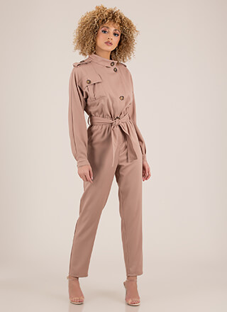 Pardon My Trench Tied Jumpsuit