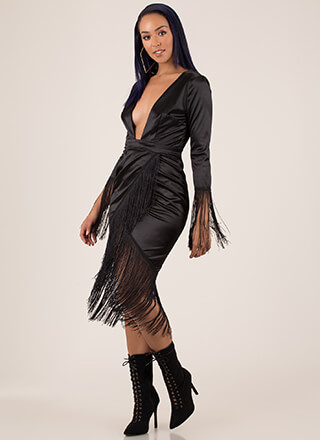 Wrapped In Fringe Plunging Satin Dress