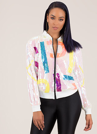 To The Letter Sequined Bomber Jacket