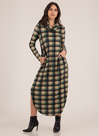 Plaid Persona Double Slit Cowl Maxi