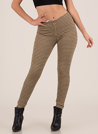 Plaid Perfection Zip-Front Skinny Pants