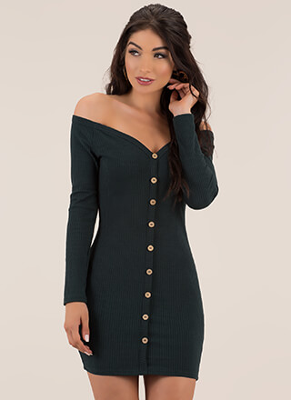 Hot As A Button Off-Shoulder Minidress