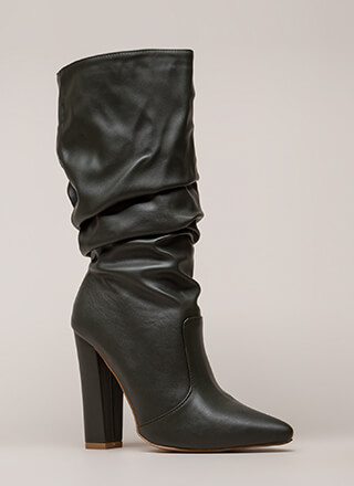 Stylish Slouch Pointy Chunky Boots