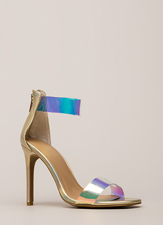 See Clearly Metallic Holographic Heels