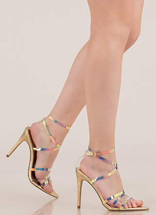 Exceptional Strappy Fishscale Heels