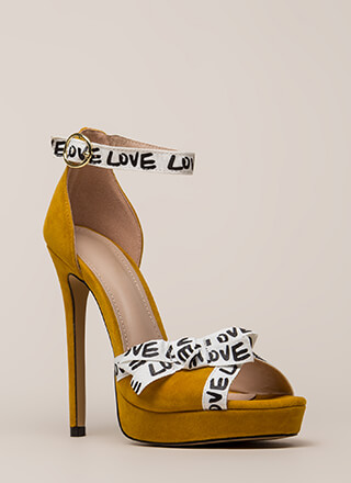 New Love Graphic Peep-Toe Platforms