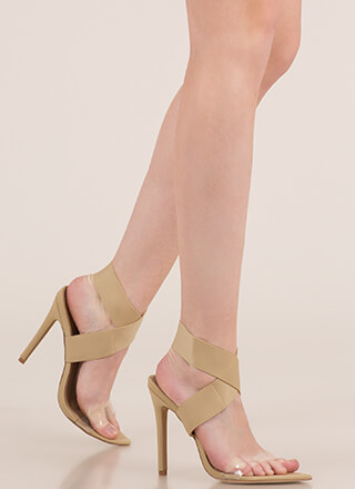X Communication Banded Clear Strap Heels