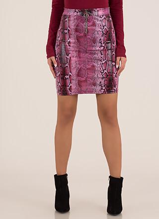 Snake Your Groove Thing Zip-Front Skirt
