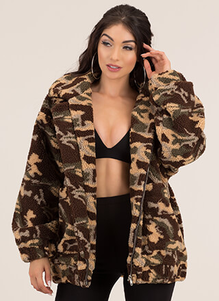Camo Calling Oversized Fleece Jacket
