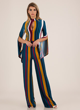 Fun Times Striped Bell Sleeve Jumpsuit