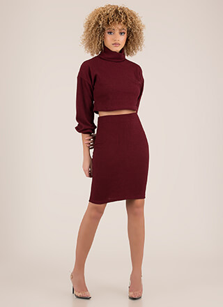 Get Cozy Turtleneck Top And Skirt Set