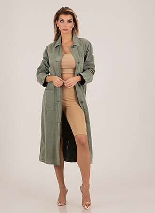 Dashing Longline Button-Up Denim Coat