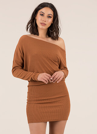 Effortless Off-Shoulder Sweater Dress