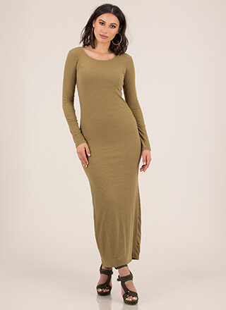 Basic Need Rib Knit Maxi Dress