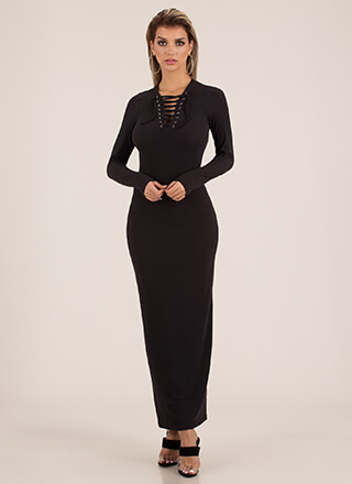 I Love Laces Rib Knit Maxi Dress