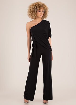 One-Sided Affair Draped Dolman Jumpsuit